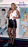 sharron davies leather mini stockings heels leggy pics