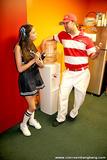 Adult Film Starlets Posing in Cheerleader Costumes