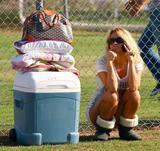 Pamela Anderson watching her son play baseball in Malibu, September 29
